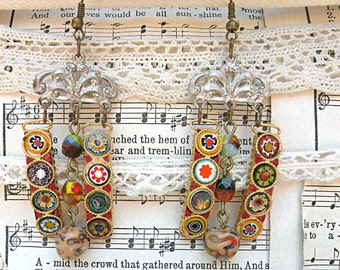 funky micro mosaic earrings assemblage gypsy dangle