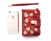 womens iPhone Wallet, red leather wallet, red clutch wallet, travel wallet, hearts valentines day gift, february spring fashion