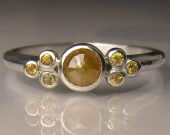 Rose Cut Golden Diamond Engagement Ring,  Sterling Silver Diamond Engagement Ring, Yellow Diamond Cluster Ring
