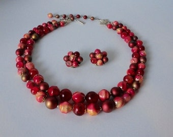 Mid Century Pomegranate Color Beaded Necklace and  Earrings Set. 2 strands. Demi Parure
