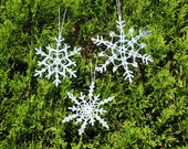 3 Blue Christmas snowflake ornaments for your tree straight from the heart of Ohio