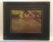 Framed oil painting -  9x12- creek // warer// landscape // ready to hang