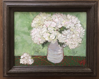 Framed oil painting of flowers // Hydrangeas // ready to hang // home decor // 12x16