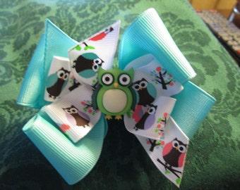 Ready To Ship,Owl Boutique Hair Bow, Toddler Hair Bow, Birthday Hair Bow, Teal Hair Bow,