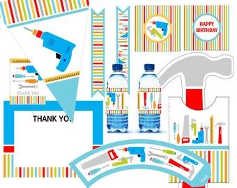 Handyman Birthday Invitation - Tools invitation - printable digital - Building invitation - party kit construction invitation