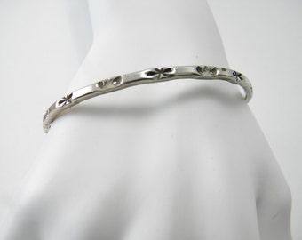 Vintage Native American sterling silver bangle bracelet hand stamped, 925 silver stacking bangle, southwestern, boho, native american,tribal