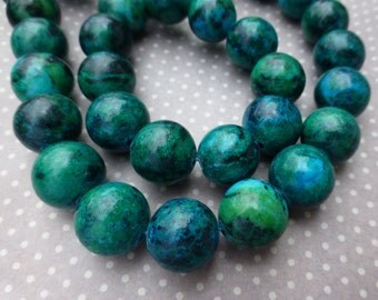 free UK postage Chrysocolla Gemstone Round Beads 12mm Strand of 32