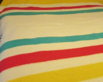 Handsome Vintage HUDSONS BAY Wool Blanket Double with 4 Stripes