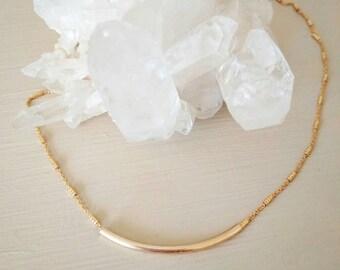 Gold tube bar necklace. Short. Chain. Sparkle. Gift. Bridesmaid. Dainty. Layer. Boho.