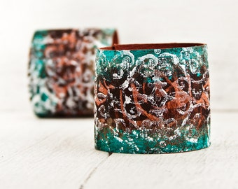BOHO Jewelry Cuff Bracelet - Hand Painted Leather Wrist Band Cuffs - Popular Leather Items by Rainwheel