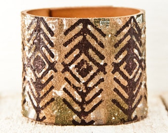 Native Bracelet Indigenous Tribal Jewelry - Leather Cuff Wristband - Earthy Fashion Primitve Rustic Accessories
