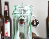 Beer Bottle Glass Boho Drop Earrings Beach Jewelry Recycled Glass