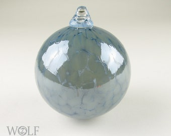Blown Glass Ornament Suncatcher Denim Blue and Grey Speckle