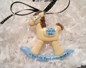 Personalized Blue Baby's First Christmas Rocking Horse Ornament