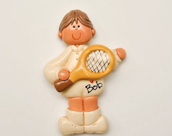 SALE....Personalized  (boy) Tennis Player Christmas Ornament