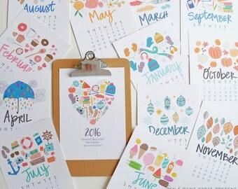 ON SALE CLIPBOARD 2016 5x7 Mini Calendar, Illustrated, Seasonal, Colorful, Planner,5 x 7, Wall Calendar, Desk Calendar