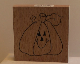 Large Happy Jack-o-Lantern Rubber Stamp