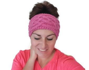 Knitting Pattern PDF :  Boho Women's headwrap / earwarmer , Celtic Cables , instant Download, Teen Headband Pattern, Christmas Gift Knitting