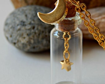 Golden Moon and Stars Message in a Bottle Necklace