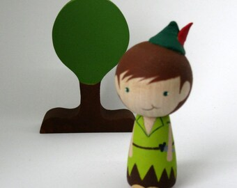 Simply Peter Pan Kokeshi Peg Doll