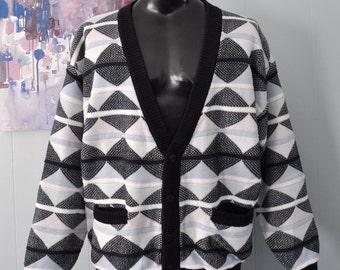 90s Cardigan Geometric Diamonds Checkerboard Design Light Blue Black White XL