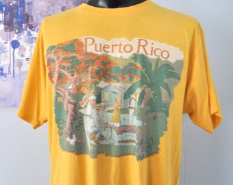 Distressed Vintage Tshirt Peurto Rico Faded Goldenrod Gold Yellow 80s 90s Super Soft n Thin XL