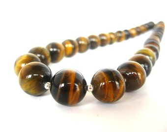Tiger Eye Necklace, Sterling Silver, 12mm Tiger Eye Round Beads, Sterling Silver Round Beads, Tiger Eye Jewelry, Brown Beaded Tiger Eye