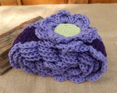 Crocheted Scarf with Flowers  ~  Amethyst and Lavender Scarf with Flowers  ~  Crocheted Scarf  ~ Crocheted Winter Scarf  ~ Spring Scarf
