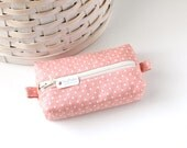 Small Boxy Pouch Faded Red and White Coin Purse Stars Change Purse Zipper Pouch