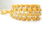Mustard Cuff Leather Chain Bracelet  / Deer skin leather Bracelet / Boho Chic Rustic Bracelet  Chain bracelet Tribal cuff  Cool gift ideas