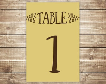 Printable Table Number Card - Woods - Custard and Brown - INSTANT DOWNLOAD