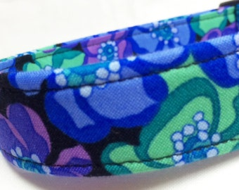Purple Flowers Fabric Dog Collar Boy Girl Blue Green