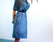 SALE 50% OFF Vintage 50s MAD Men Sheer Cotton Day Dress Blue Green Chevron Print Pintuck Short Sleeve Shirtdress 1950s Retro Housewife Frock