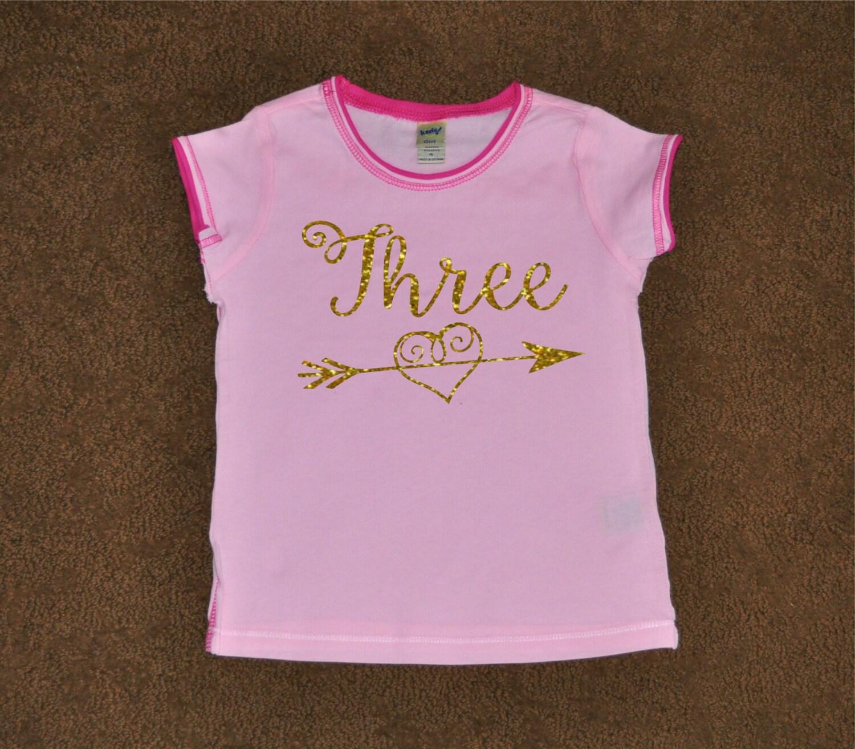 Glitter Birthday Shirt Three Gold Glitter By Preciousnprosper