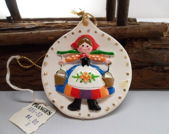 Vintage Clay Old World German Maiden Ornament 1980's NWT