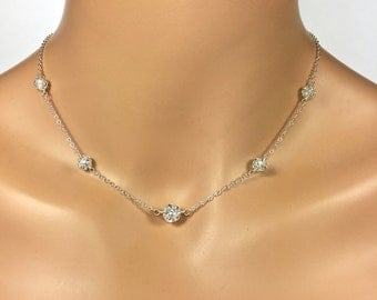 Pave Crystal Bridal Jewelry Set Silver Pave Crystal Bridal Jewelry Crystal Ball Camryn