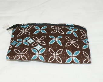 Brown and Blue Flower Pouch  - Small (S92)