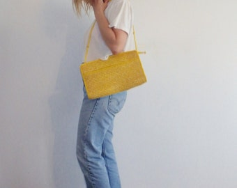 Wicker Purse Bag Vintage Canary Yellow