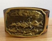 Belt Buckle // Western // Vintage // Brass with leather belt // FREE Shipping