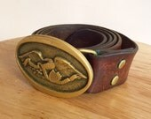 Belt Buckle // Eagle // Vintage // Brass with leather belt // FREE SHIPPING