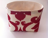 large storage basket // deep red and cream ikat