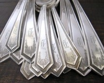 Vintage D Monogram Silverplate Flatware Spoons Lot, La Salle 1925 by 1865 WM Rogers Mfg Co