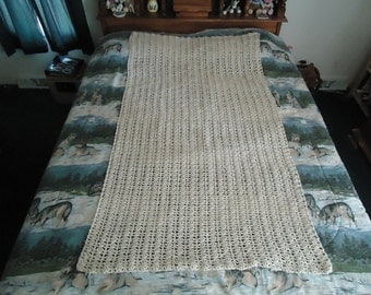 Off White Hand Crocheted Trellis Afghan, Blanket, Throw - Home Decor -  Shipping is Included