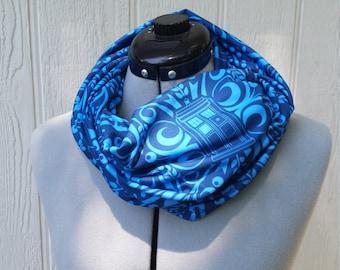 Blue on Blue Swirls Print Infinity Cotton Jersey Scarf