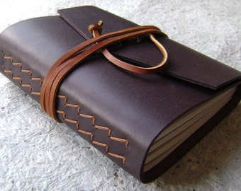 "Leather journal, 4"" x 6"", dark chocolate, handmade journal by Dancing Grey Studio on Etsy (1651)"