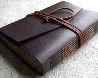 "Leather journal/travel journal, 312 pages, 5.5""x 7.5, dark brown, handmade journal by Dancing Grey Studio (1930)"