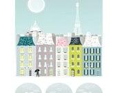 Paris Print, Seine Bridge, Skyline Wall Paper Art Print, Cityscape Illustration, Eiffel Tower Home Decor, Nursery, Travel Art SPPPB1
