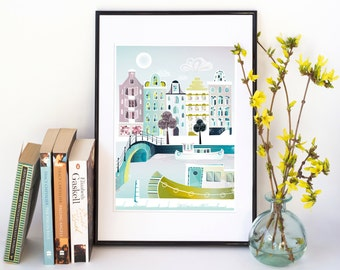 Amsterdam Print, Skyline Wall Art, Amsterdam Prints Illustration Cityscape, Home decor Living room, Kids room and Nursery decor: Style PPAM1