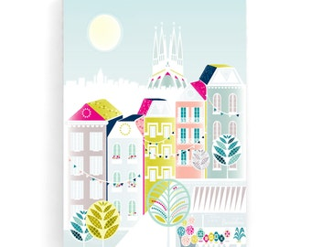 Barcelona skyline, Canvas Framed Wall Art, Spanish illustration Spain, Textiles, Poster Print, Pastels, home decor, nursery, ready to hang