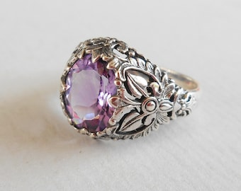 Balinese Sterling Silver Amethyst Ring / silver 925 / size 7 ready to ship / Bali Handmade Jewelry